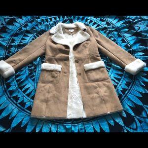 Ann Taylor loft faux fur lined faux suede coat